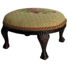 Late Georgian Footstool Carved Shell Ball and Claw Legs Needlework Top, Ca. 1820