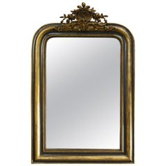Antique French Green and Gold Gilt Louis Philippe Mirror
