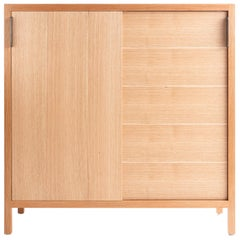 Laska Credenza in Quarter-Sawn White Oak, Sliding Doors, Show Sample