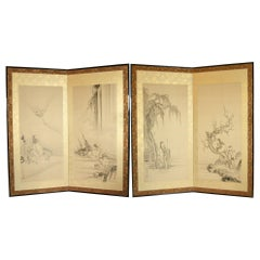 19th Century Japanese Ink Painted Screens with Chinese Poets by Kano Eigaku