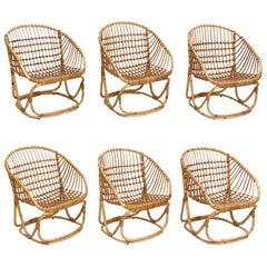 Set of 6 Wicker Chairs by Tito Agnoli for Bonacina, circa 1960