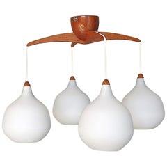 Scandinavian Teak White Glass Lamp Uno & Östen Kristiansson, Luxus Vittsjö 1960s