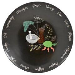Mid-Century Era Couroc Wood & Shell Inlay Phenolic Resin Large Herbs Salad Bowl