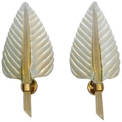Signed Large Pair Barovier Leaf Sconces Gilt Brass Murano Glass Ivory White Gold