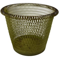 French Late 19th Century Moss Green Rolled Rim Wire Metal Basket