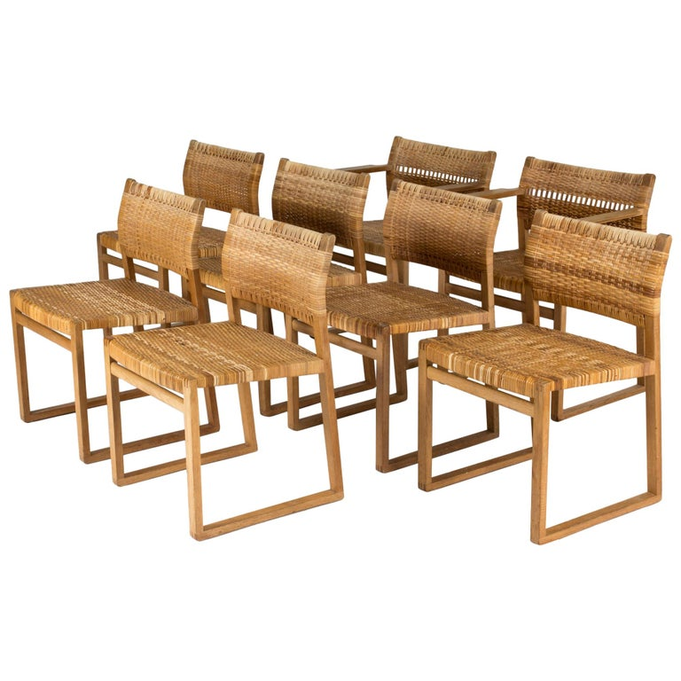 Set of Eight Rattan Dining Chairs by Børge Mogensen For Sale