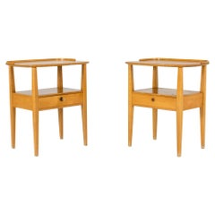 Pair of 1950s Birch Bedside Tables from NK