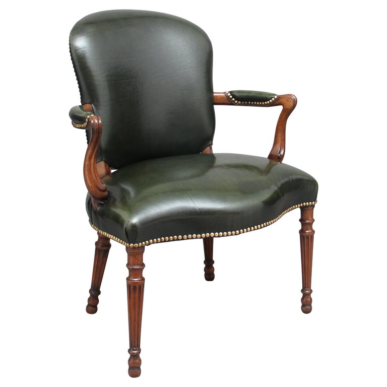 19th Century Mahogany Open Armchair For Sale