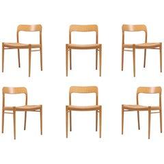Scandinavian Modern Chairs in Oak by N.O. Möller for J.L. Moller