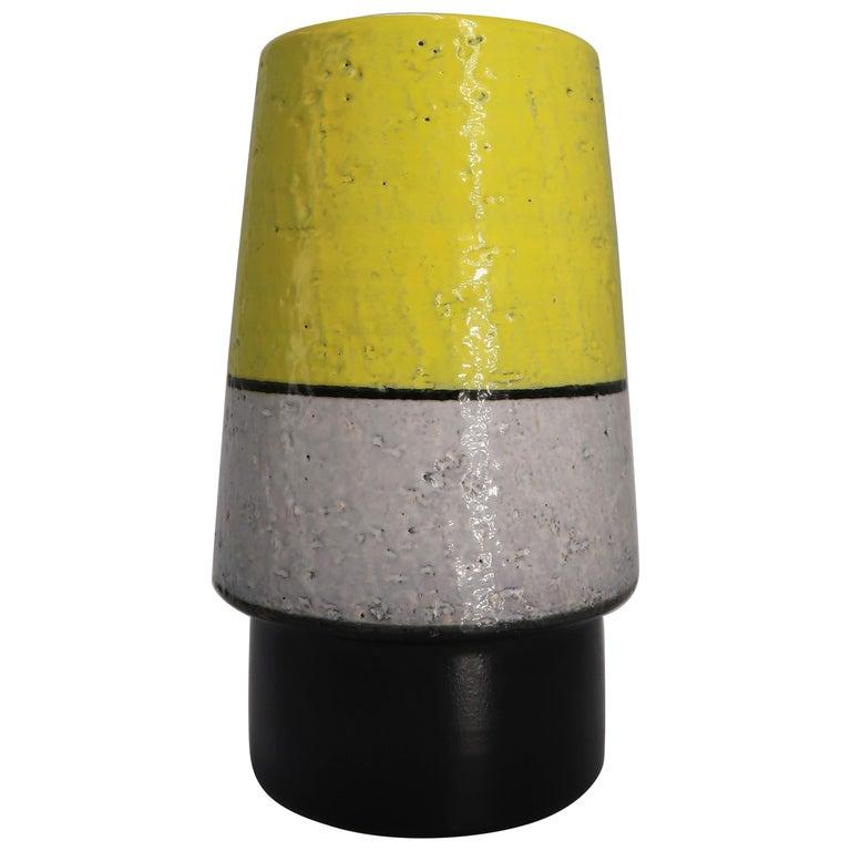 Swedish Midcentury Yellow, Grey, Black Vase by Mari Simmulson for Upsala Ekeby For Sale