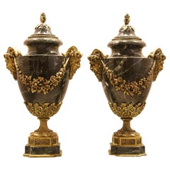 Two Louis XVI Style Green Marble and Gilt Bronze Vases