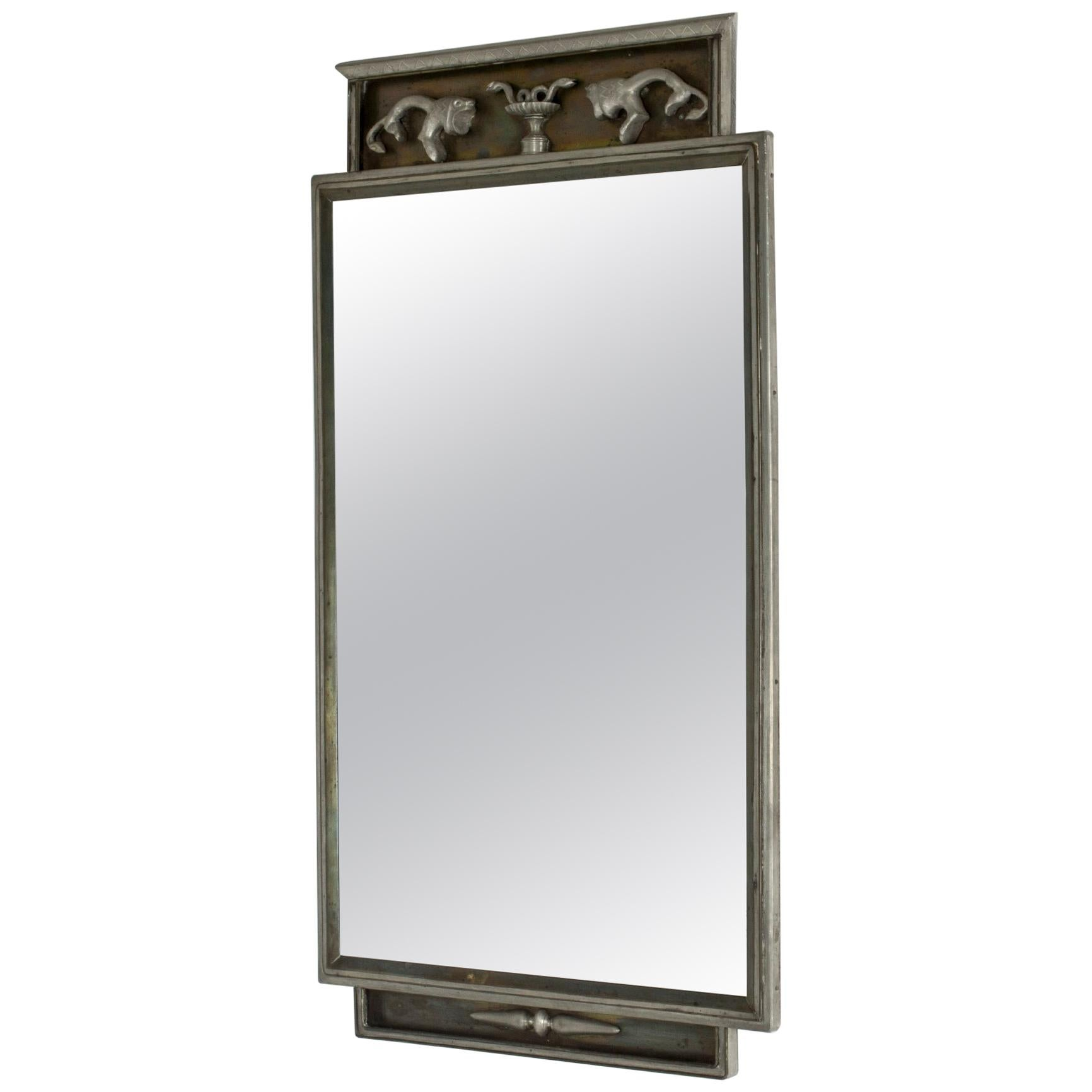 1930s Pewter Wall Mirror by Nils Fougstedt