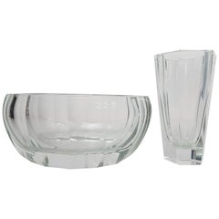 Moser Crystal Purity Clear Glass Set 'Bowl and Vase', Early 20th Century