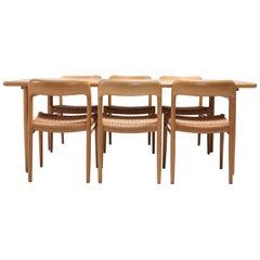 Scandinavian Modern Dining Set in Oak by N.0. Möller for J.L. Moller