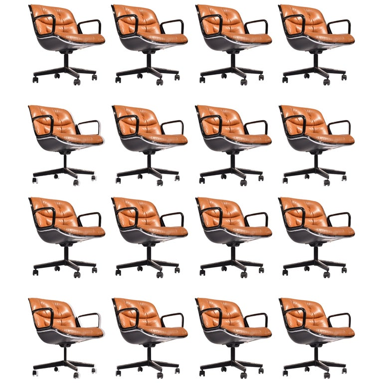 35 Charles Pollock Executive Desk Chairs for Knoll in Cognac Leather For Sale