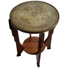 Art Deco Brass and Oak Side Table