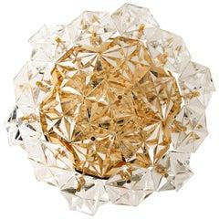 Gold-Plated Kinkeldey Crystal Glass Fush Mount, Germany, 1970s
