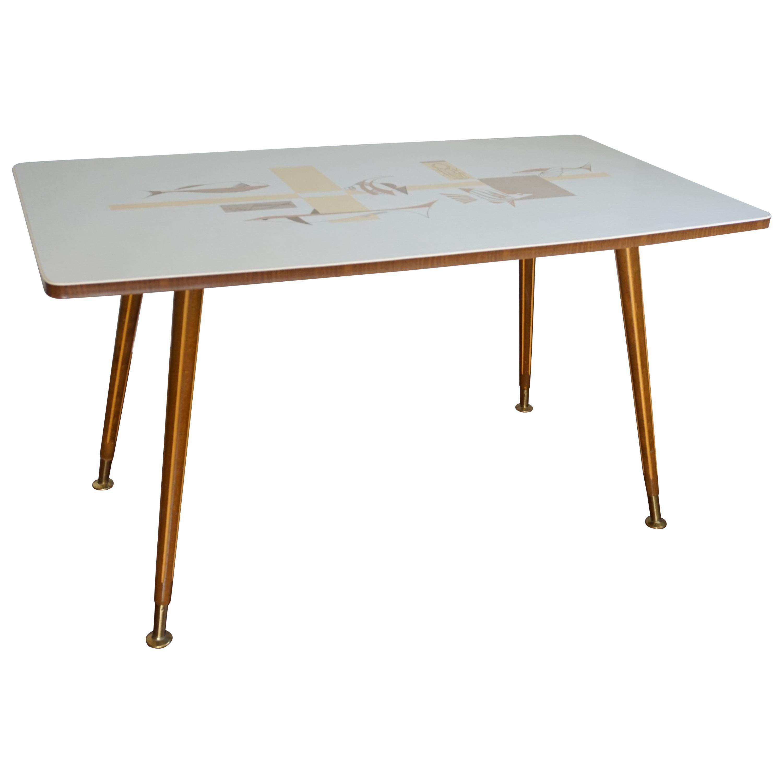Mid-Century Modern Italian Design Coffee or Sofa Table with Stylized Fish Motifs
