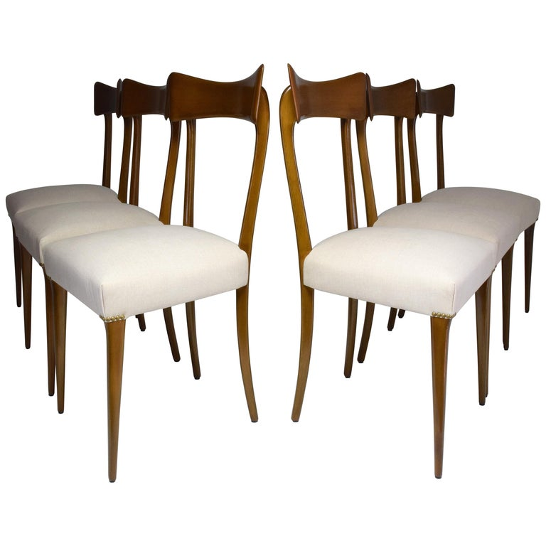 Italian Midcentury Dining Chairs, Set of 6, 1950s For Sale