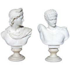 Hermes and Apollo a Pair of 19th Century Marble Busts