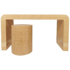 Lacquered Linen Wrapped Waterfall Console Table or Vanity / Desk with Stool