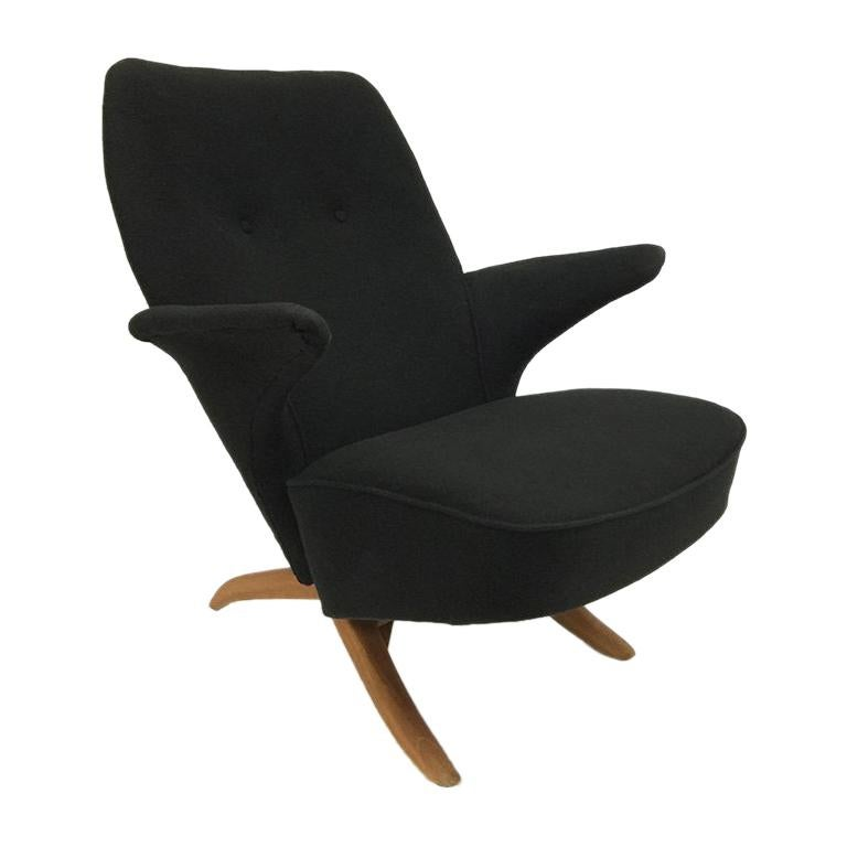 """Theo Ruth Black """"Penguin"""" Lounge Chair for Artifort, 1950s"""