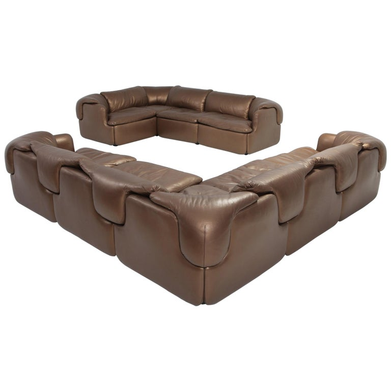 Bronze Leather Saporiti High-End Corner Sofa \'Confidential\'
