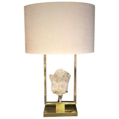 Elegant White Rock Crystal and Brass Table Lamp