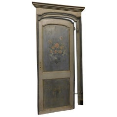 19th Century Antique Wood Lacquered Blue Door with Frame, Elegant