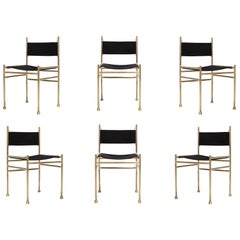 Brass and Black Velvet Dining Chairs by Luciano Frigerio