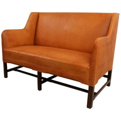 Kaare Klint Settee in Cuban Mahogany and Natural Leather, Model 5011, 1935