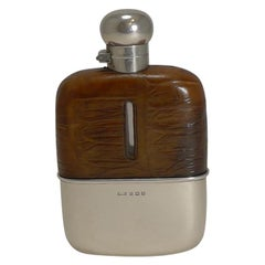 English Sterling Silver and Crocodile Skin Hip Flask, 1929