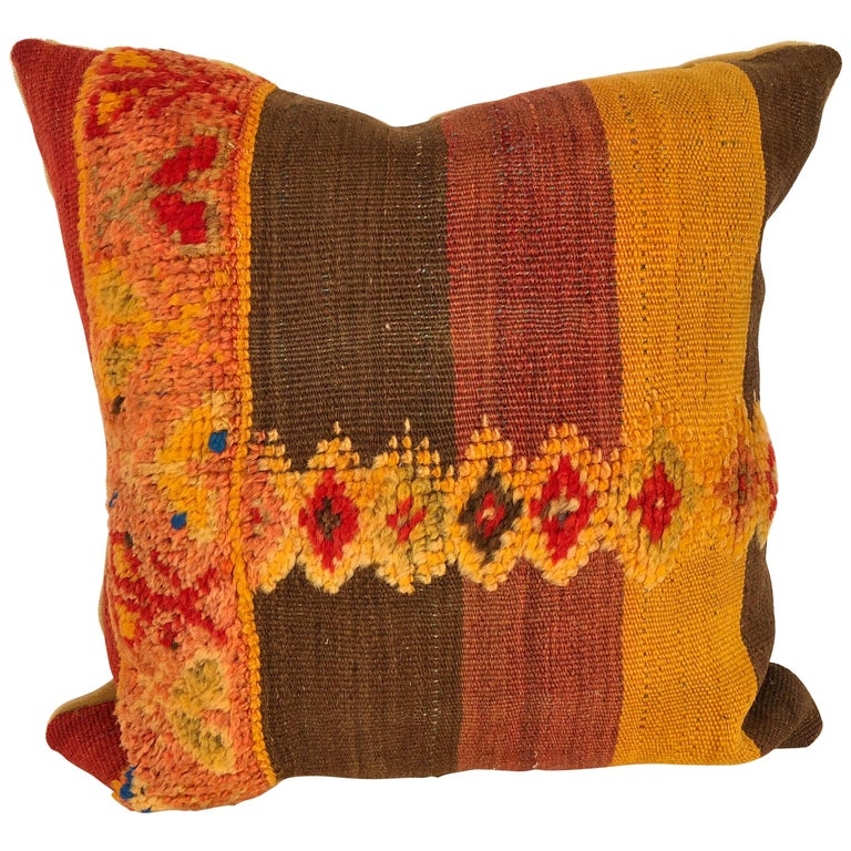 Custom Pillow Cut from a Vintage Moroccan Wool Rug,  designed by Maison Suzanne For Sale