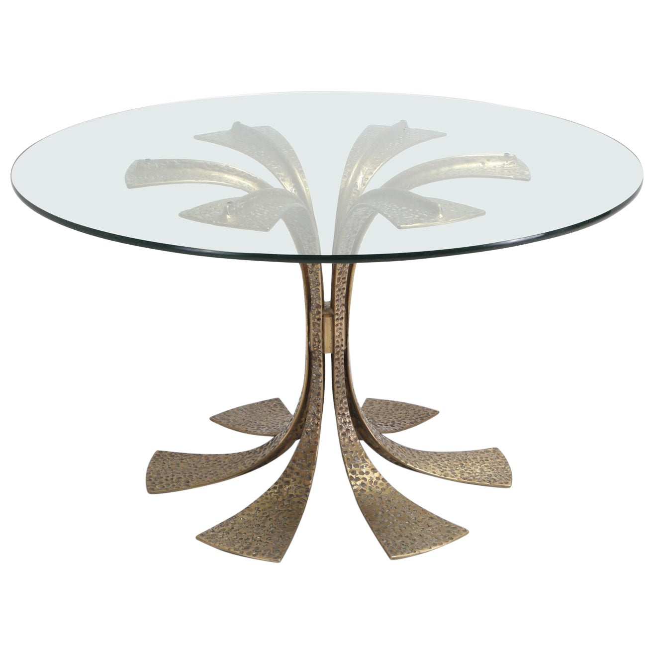 Hollywood Regency Hammered Brass Dining Table by Luciano Frigerio