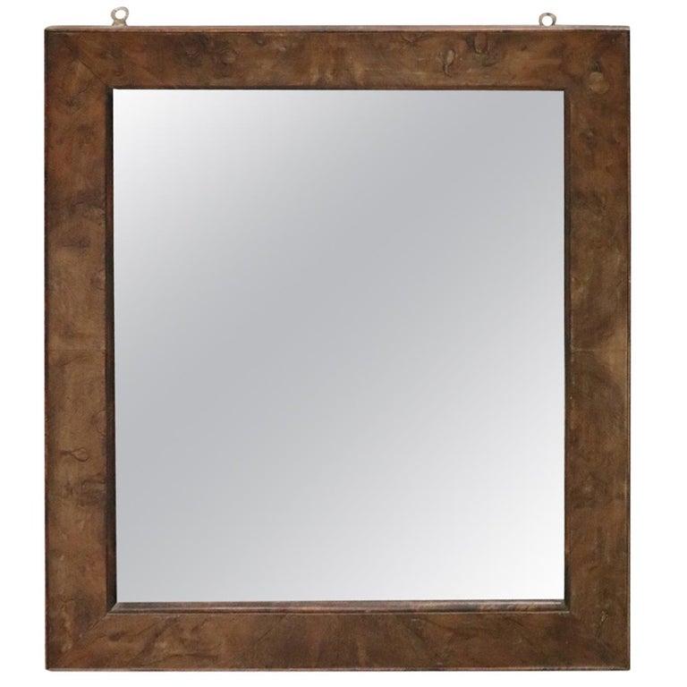 19th Century Italian Wall Mirror With Walnut Wood Frame
