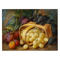 """""""Still Life with Grapes and Plums"""" Antique Oil Painting by Vincent Clare"""