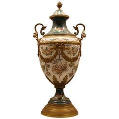 French Porcelain Vase with Ormolu Louis XVI Style
