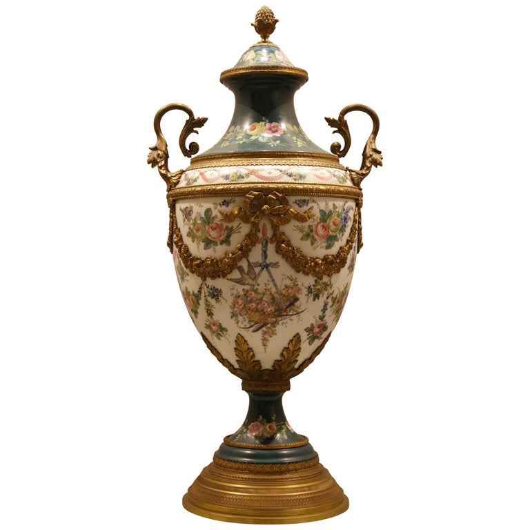 French Porcelain Vase with Ormolu Louis XVI Style For Sale