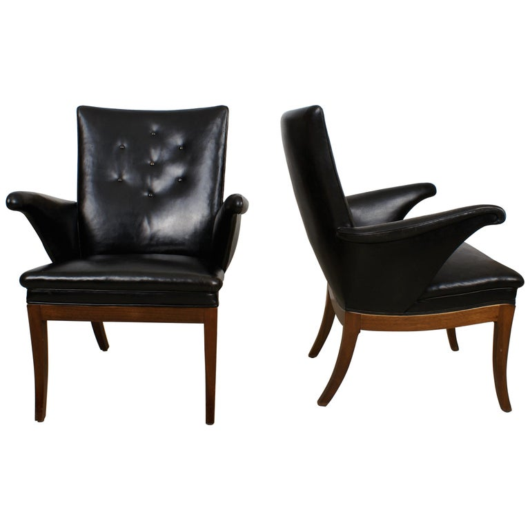 Frits Henningsen Pair of Easy Chairs in Cuban Mahogany and Leather, 1932 For Sale
