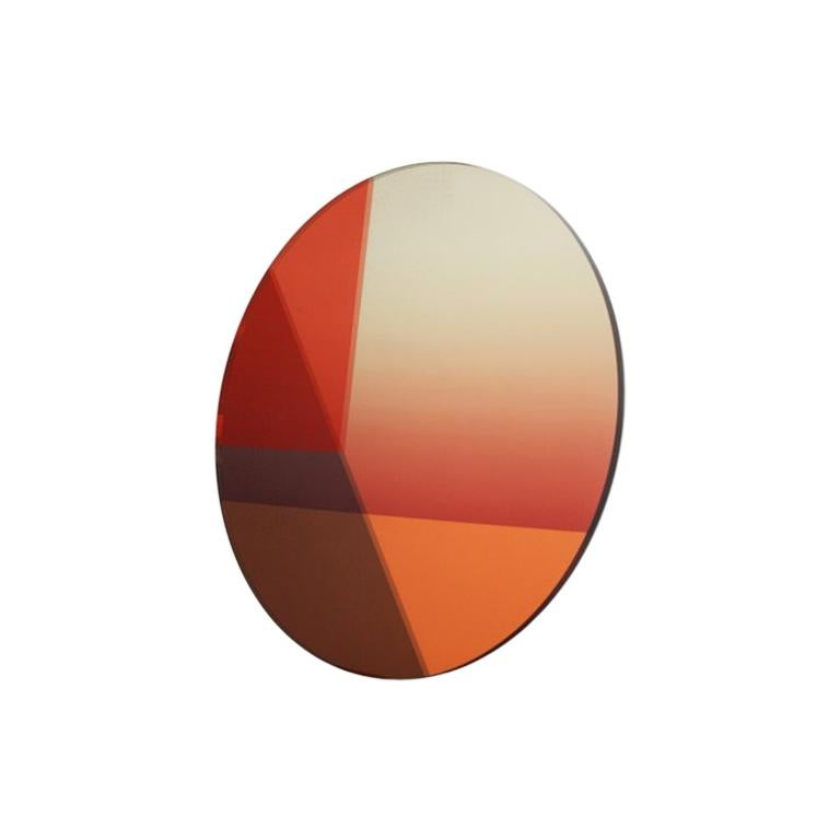 Sabine Marcelis Big Round  Wall Mirror, Contemporary Design Orange and Gold   For Sale