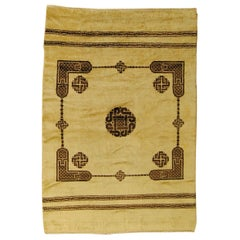 20th Century White and Brown Roman Coptic Design North Africa Rug, circa 1900s