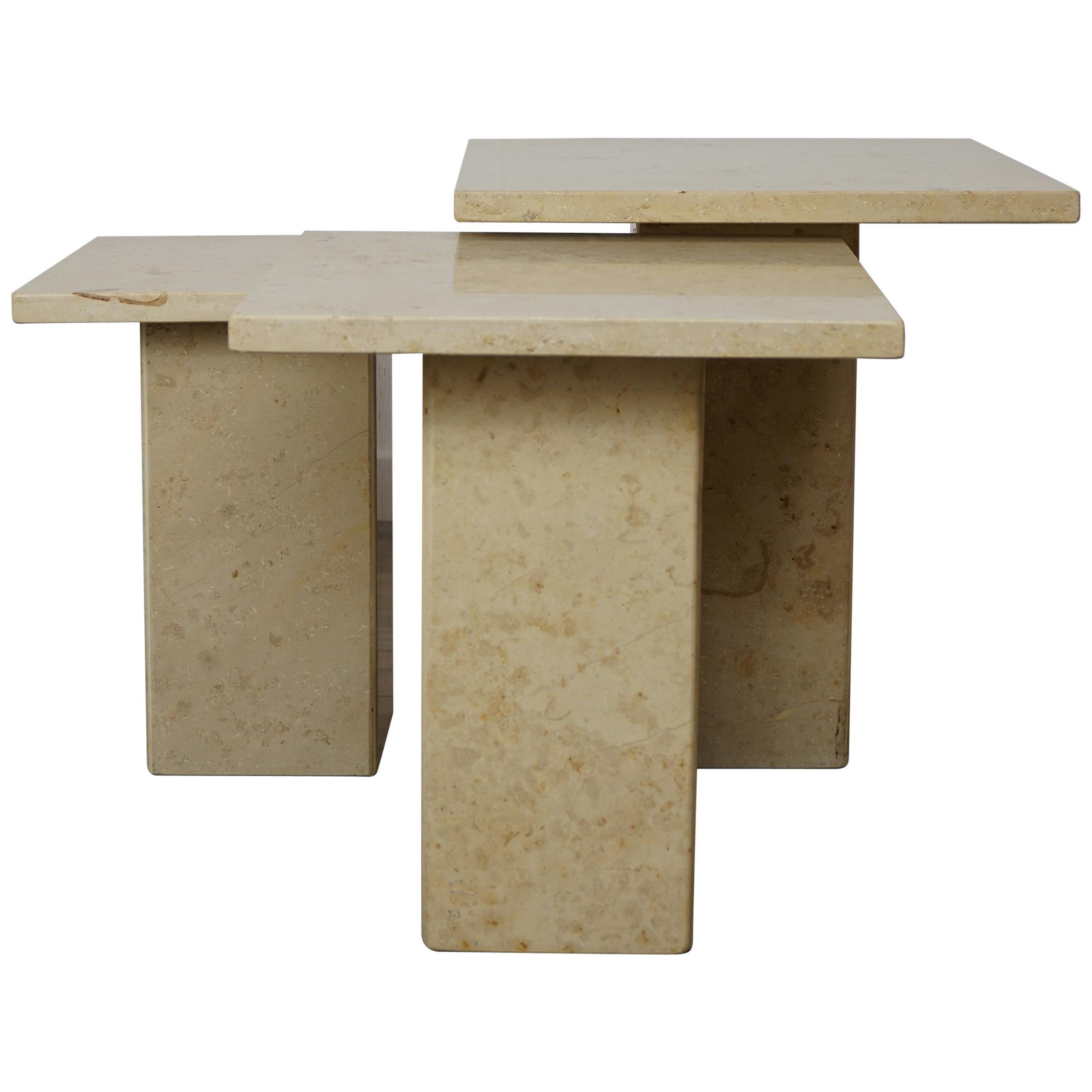 French Stone Pierre de Bourgogne Side Tables Set
