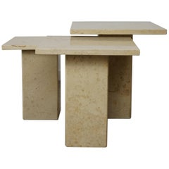 French Stone Pierre de Bourgogne Side Tables Set