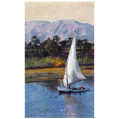 Evening on the Nile River Impressionist Painting