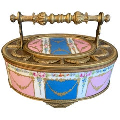Wonderful French Hand Painted Sèvres Porcelain Bronze Ormolu Oval Casket Box