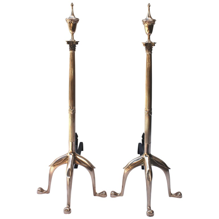 Pair of Tall Swedish Brass Andirons For Sale