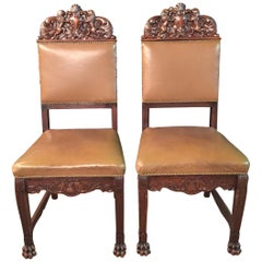 19th Century 2 Neo-Renaissance Oak Chairs