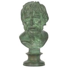 Antique Grand Tour Bronze Bust Sculpture after Pseudo-Seneca, 19th Century