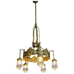 Art Nouveau Lustre Chandelier Candelabrum Five Bulbs Vienna Austria Made