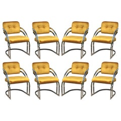 Milo Baughman Style Chrome Dining Chairs, Set of 8